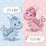 Greeting card with Cute Dragon. Baby Shower greeting card with Cute Dragon stock illustration