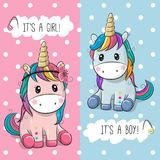 Baby Shower greeting card with Cute Unicorns. Boy and girl Royalty Free Stock Image