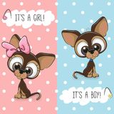 Baby Shower greeting card with Dogs Royalty Free Stock Images