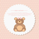 Baby shower greeting card. Baby shower girl, invitation card. Place for text. Greeting cards Stock Images