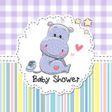 Baby Shower Greeting Card with Hippo Royalty Free Stock Image