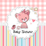 Baby Shower Greeting Card with Kitten Royalty Free Stock Photos