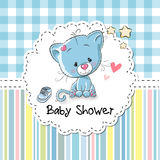 Baby Shower Greeting Card with Kitten Royalty Free Stock Photography