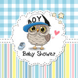 Baby Shower Greeting Card with Owl Royalty Free Stock Image