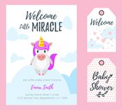 Baby shower greeting card, tags Stock Photo
