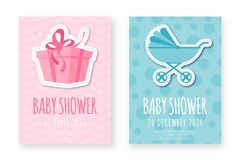Baby shower greeting card template. Set of cute posters for birthday party, baby shower event royalty free illustration