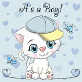 Baby Shower Greeting Card With Cute Kitten Boy Royalty Free Stock Photos