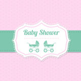 Baby shower greeting design in pink and green Stock Image