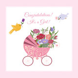 Baby shower greeting for Girl. Decorative background with illustration of flowers and pram stock illustration