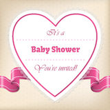Baby shower greeting with heart and ribbon Stock Photography