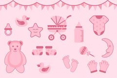 Baby shower greeting with pink color with various objects - vector illustration royalty free illustration