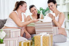 Baby shower. Group of female friends with pregnant women at a baby shower Royalty Free Stock Photo