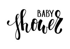 Baby shower. Hand drawn calligraphy and brush pen lettering. design for holiday greeting card and invitation of baby shower, birth Royalty Free Stock Photography