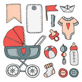 Baby shower hand drawn scrapbooking elements,  s Stock Image
