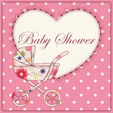 Baby shower with heart and baby carriage pink vintage Stock Photos