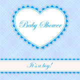 Baby shower with heart banner boy Royalty Free Stock Image