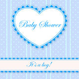 Baby shower with heart banner boy. Vector baby shower with heart banner boy Royalty Free Stock Photo