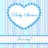 Baby shower with heart banner boy. Vector baby shower with heart banner boy Stock Images