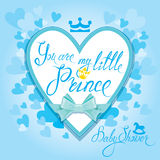 Baby Shower with heart and crown on blue background. Calligraphic text You are my little prince. Congratulations on the birth stock illustration