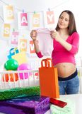 Baby shower holding body Stock Images