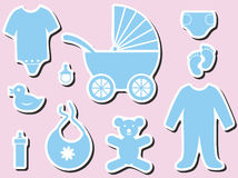 Baby shower icons Royalty Free Stock Images