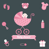 Baby shower icons set, girl pink Stock Photography