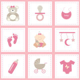 Baby shower icons. Baby shower icons set, girl pink. Flat  design Royalty Free Stock Images