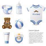 Baby shower icons set Stock Photo