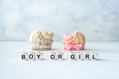 Baby shower ideas for a girl and boy party. Pink and blue decorative straw cradles with thread hearts and text BOY or GIRL. stock photography