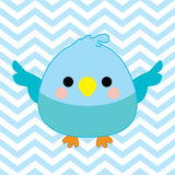 Baby shower illustration with cute baby bird on blue chevron color background Stock Photo