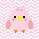 Baby shower illustration with cute baby bird on pink chevron color background Royalty Free Stock Image
