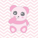 Baby shower illustration with cute baby pink panda on chevron background Stock Image