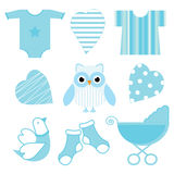 Baby shower illustration with cute blue baby owl, baby tools, and love Royalty Free Stock Photos