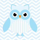 Baby shower illustration with cute blue baby owl on blue chevron background Royalty Free Stock Image