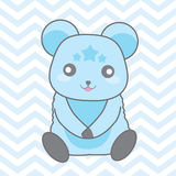 Baby shower illustration with cute blue bear on blue chevron background Stock Image