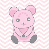Baby shower illustration with cute blue bear on pink chevron background. Suitable for baby boy invitation card, nursery wall, and postcard Royalty Free Stock Photos