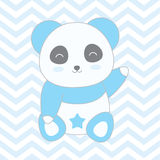 Baby shower illustration with cute blue panda on blue chevron background Stock Images