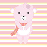 Baby Shower illustration with cute pink baby bear suitable for invitation card, postcard and nursery wall Stock Photo