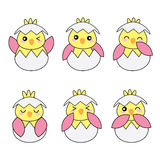 Baby shower illustration with cute pink baby chicks Stock Image