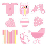 Baby shower illustration with cute pink baby owl, baby tools, and love Royalty Free Stock Photography