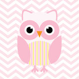 Baby shower illustration with cute pink baby owl on pink chevron background Royalty Free Stock Photo