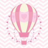 Baby Shower illustration with cute pink hot air balloon on chevron background. Suitable for baby shower invitation card, nursery wall, and wallpaper Royalty Free Stock Image