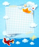 Baby shower invitation with airplane and paper boat. Illustration vector illustration