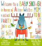 Baby Shower Invitation with Animal Royalty Free Stock Photo