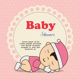 Baby shower invitation with baby asleep. Illustration design Royalty Free Stock Photo