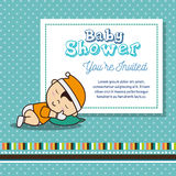 Baby shower invitation with baby asleep. Illustration design Royalty Free Stock Photos