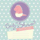 Baby Shower invitation with baby dinosaur Royalty Free Stock Image