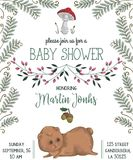 Baby shower invitation with bear, mushroom, flowers, leaves, fern and acorn. Cute cartoon character. Hand drawn vector illustration in watercolor style Royalty Free Stock Photos