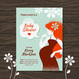 Baby shower invitation with beautiful pregnant vector illustration