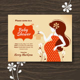 Baby shower invitation with beautiful pregnant royalty free illustration